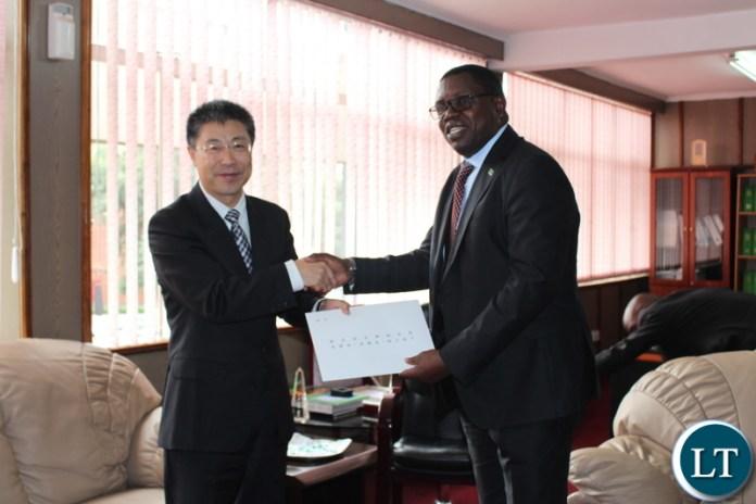 The new Chinese Ambassador to Zambia Li Jie paying a courtesy call on Foreign Affairs Minister Joseph Malanji