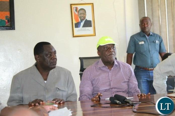 Works and Supply Minister Felix Mutati  with North Western Province Permanent Secretary Ephraim Mateyo