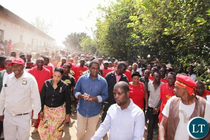 UPND Leader HH with, the party's Candidate Ms Charmaine Mehl Musonda