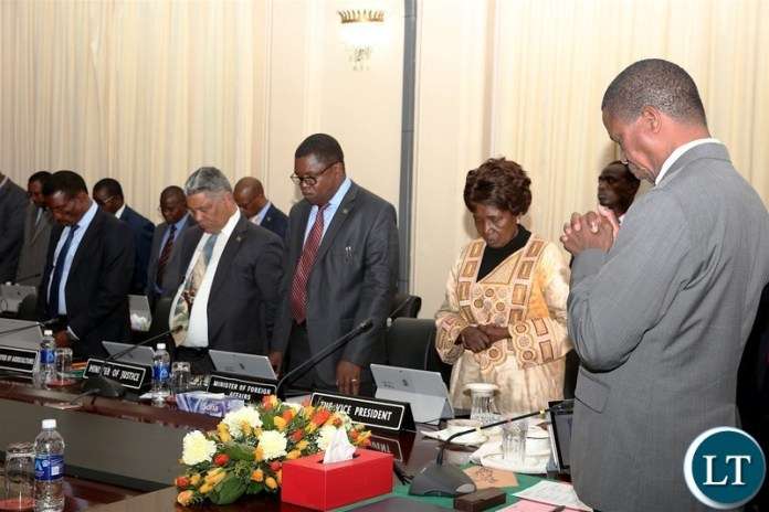 From L-R:President Edgar Chagwa Lungu, Vice-President Inonge Wina, Foreign Affairs Minister Joseph Malanji, Justice Minister Given Lubinda and Agriculture Minister Michael Katambo prays shortly before a Cabinet meeting at State House onFriday, June 8,2018-Pictures by THOMAS NSAMA