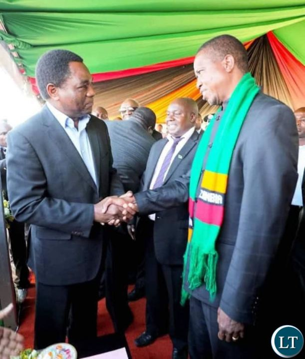 HH and President Lungu meet at late Munkombwe's burial in Choma