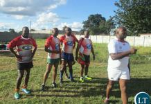 Njovu (in white t-shirt), is a former Diggers and Zambia 15s Centre and is also current Head Coach of current league leaders Diggers Rugby Club.