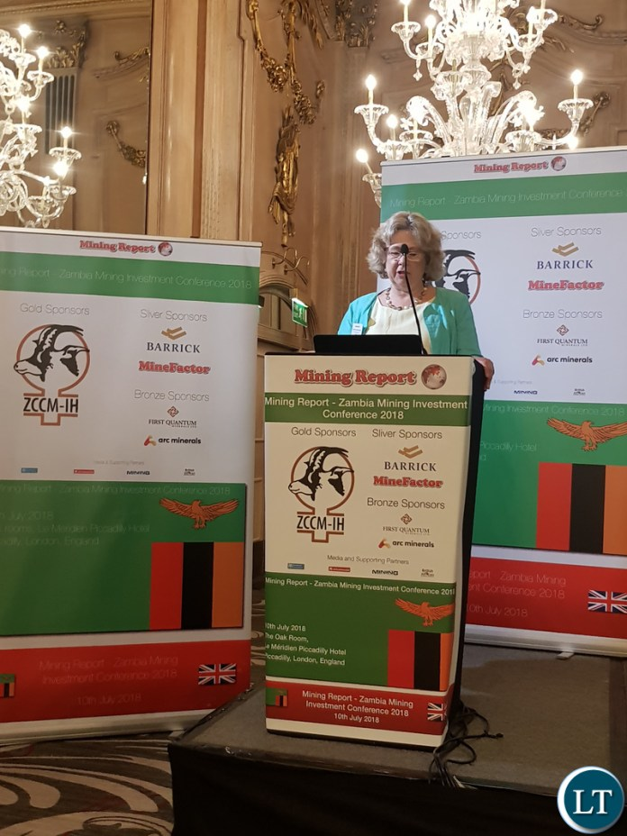 British Prime Minister's Trade Envoy to Zambia, Baroness Lindsay Northover giving her opening remarks at the Zambia Mining Investment conference 2018.