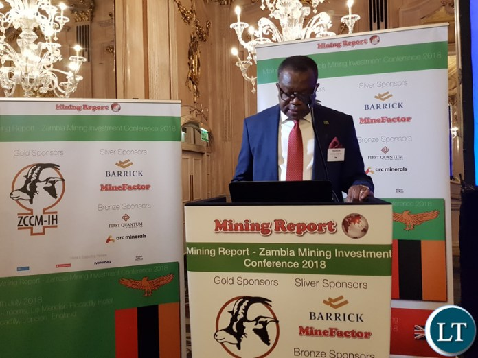 Zambia's High Commissioner to the United Kingdom His Excellency Mr. Muyeba Chikonde officiating at the Zambia Mining and Investment conference 2018.