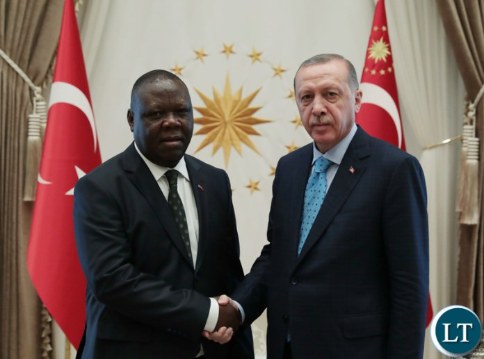 Zambia's Ambassador to the Republic of Turkey, Mr Joseph Chilengi presents letters of credence to Turkish President Recep Tayyip Erdogan at the Presidential Complex