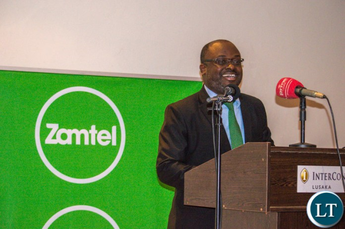 Zamtel CEO Sydney Mupeta speaking during a cocktail party at Intercontinetal Hotel, Lusaka.