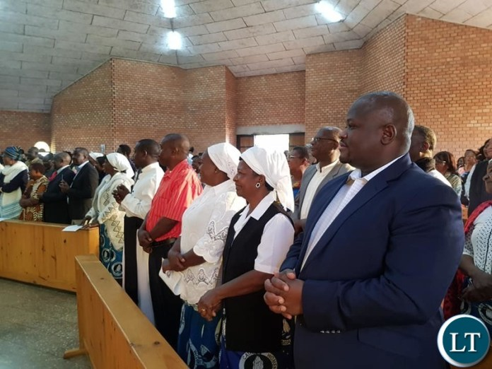 Hon. Alexander Chiteme at Catholic Church in Kitwe