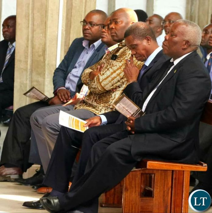President Edgar Lungu attending the memorial service for Dr Levy Mwanawasa