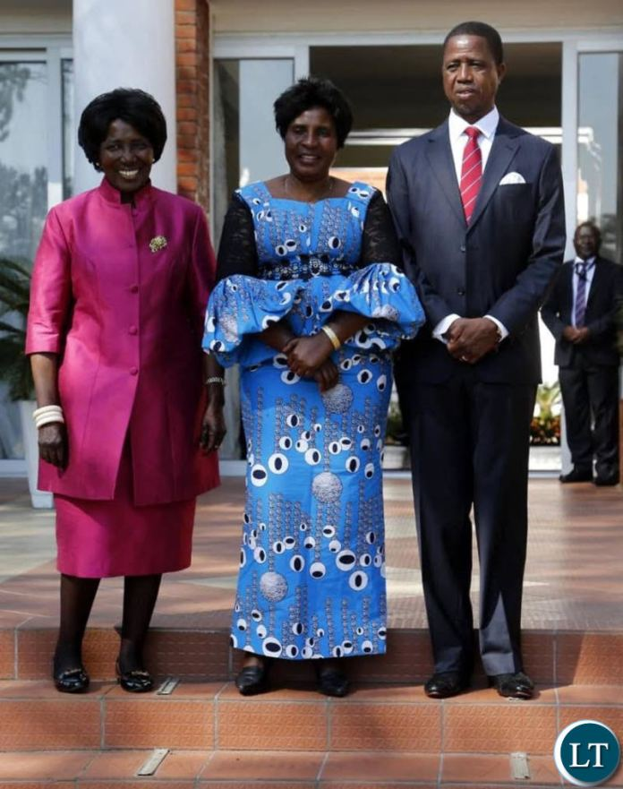 President Lungu and Vice President Inonge Wina pose for a photo with new Gender Minister Elizabeth Phiri at State House