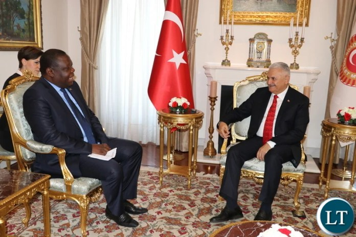 Zambia's Ambassador to the Republic of Turkey, Dr Joseph Chilengi with Speaker of the Grand National Assembly of the Republic of Turkey, Binali Yildirim in Ankara