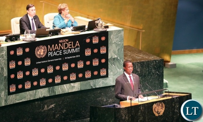 President Edgar Lungu addresses the Nelson Mandela Peace Summit Opening ceremony at the United Nations in New York on Monday, 24th September 2018 / Pictures by Eddie Mwanaleza/Statehouse