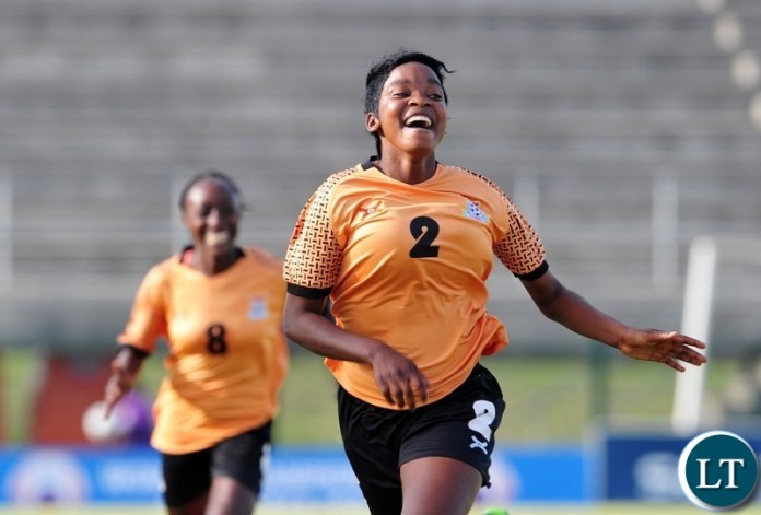 Lushomo Mweemba of Zambia runs to celebrate her goal during the 2018 Cosafa Womens Championship game between Zambia and Cameroon at Wolfson Stadium in Port Elizabeth on 15 September 2018 © Ryan Wilkisky/BackpagePix