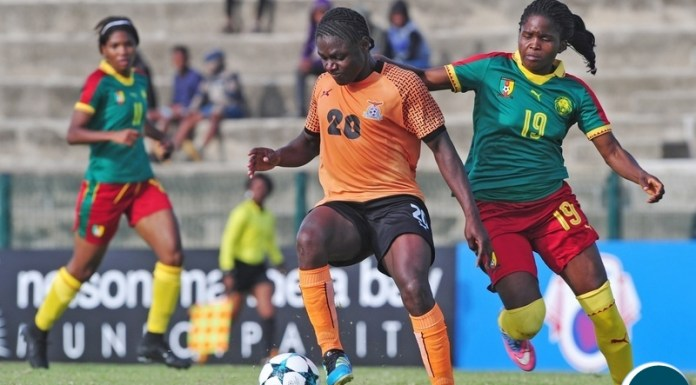 Rachel Nachula of Zambia is challenged by Michelle Maxi Angan Billong of Cameroon during the 2018 Cosafa Womens Championship game between Zambia and Cameroon at Wolfson Stadium in Port Elizabeth on 15 September 2018 © Ryan Wilkisky/BackpagePix