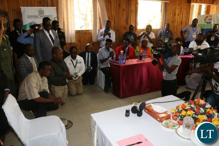 President Edgar Lungu greets Chiefs from Central Province before he officially opened the Central Province Investment Forum and Expo in Kapiri