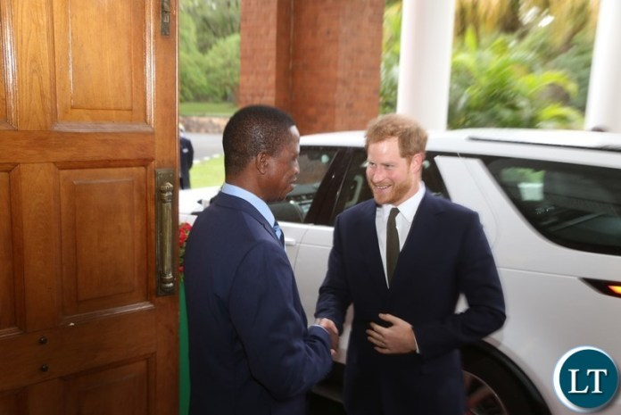 President Edgar Lungu welcomes Prince Harry the Duke of Sussex at State House when the Prince called on the President