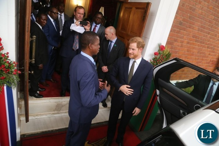 President Edgar Lungu bids farewell to Prince Harry the Duke of Sussex at State House shortly after the Prince called on the President