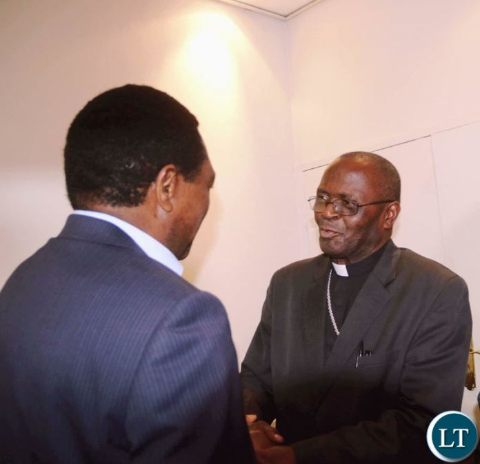 HH meets Archbishop Telesphore Mpundu during the UPND 20th anniversary dinner on Friday night