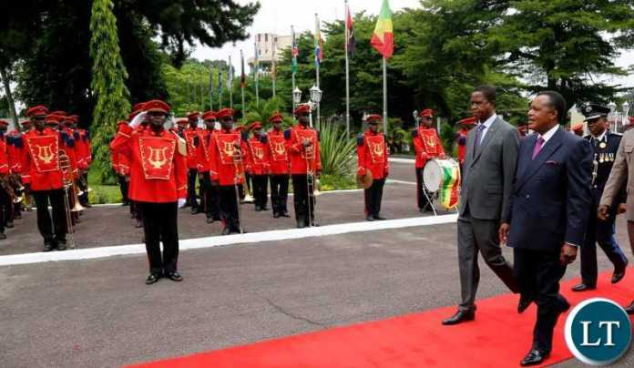President Lungu being Welcomed in Congo Brazzaville