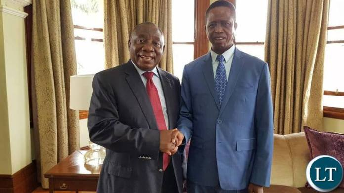 President Lungu with South African President Cyril Ramaposa