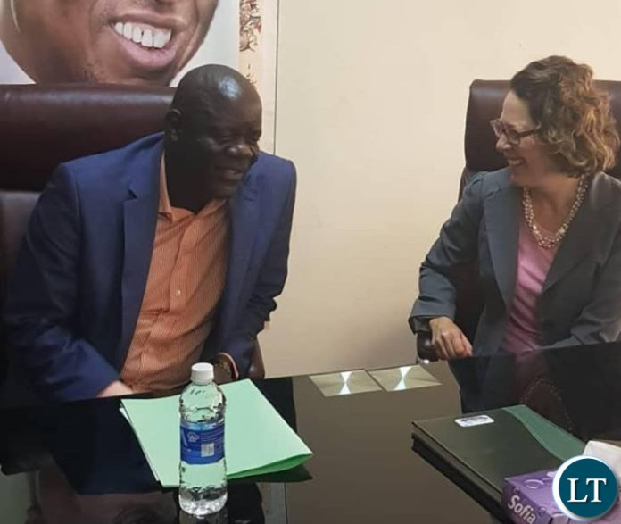Political and Economic Section Chief of the United States of America Embassy in Zambia, Ms Doreen Bailey with Patriotic Front Secretary General Honourable Davies Mwila at the PF Secretariat