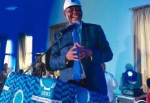 Felix Mutati speaking at a Copperbelt provincial MMD card renewal