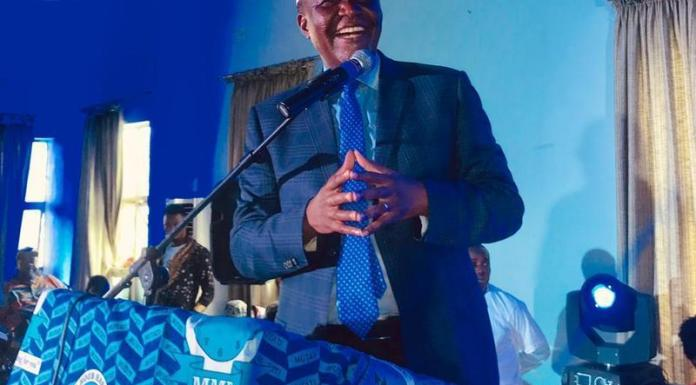 Felix Mutati speaking at a Copperbelt provincial MMD card renewal