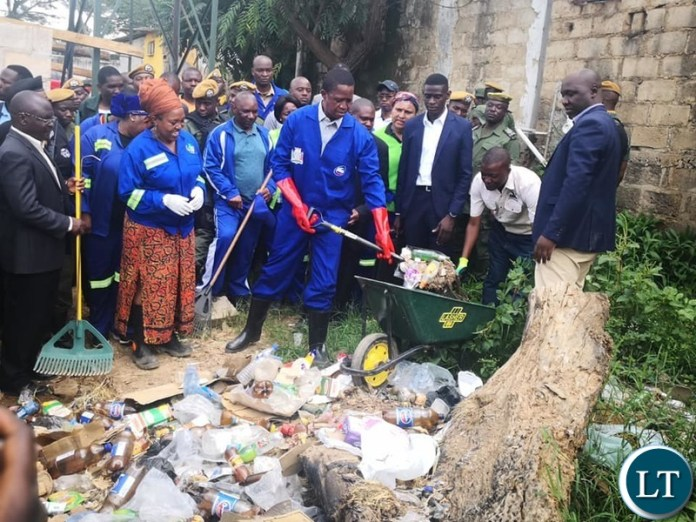 President Lungu in Chilanga during the Keep Zambia Clean Campaign