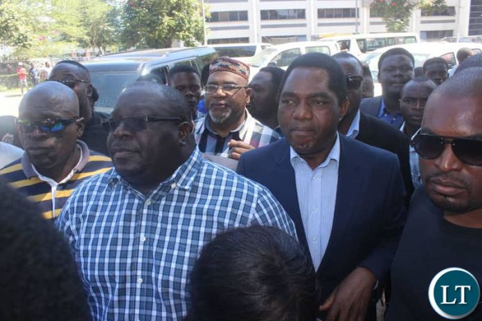 Kambwili flanked by HH and other opposition supporters.