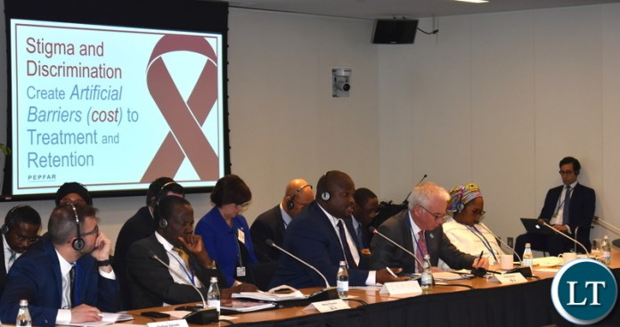 Minister of National Development Planning Alexander Chiteme speaking at the High-Level meeting on Economic Impact of HIV Spending and Joint Efforts to Plan for a Sustainable HIV Response. This was at the on-going Spring Meetings of the World Bank and the International Monetary Fund (IMF) in Washington DC USA. PHOTOS | CHIBAULA D. SILWAMBA | MNDP