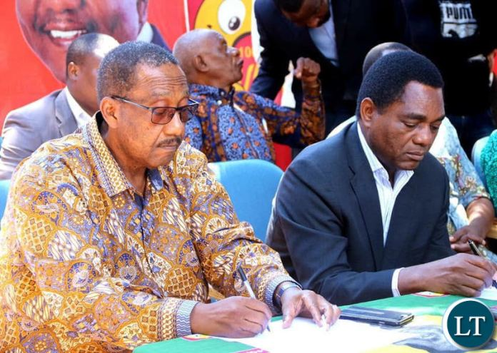 HH and GBM during a news conference at the UPND secretariat on Thursday, April 4th 2019