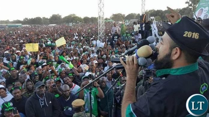 Huzaifa Jada addressing one of the PF campaign rallies