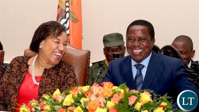President Edgar Lungu enjoying a light moment with Commonwealth Secretary General Baroness Patricia Scotland during the opening of the Commonwealth Law Conference in Livingstone