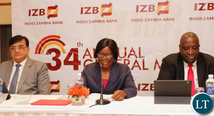Indo Zambia Bank Board Chairperson Mrs. Orlean Moyo delivering a statement during the cheque hand over ceremony.