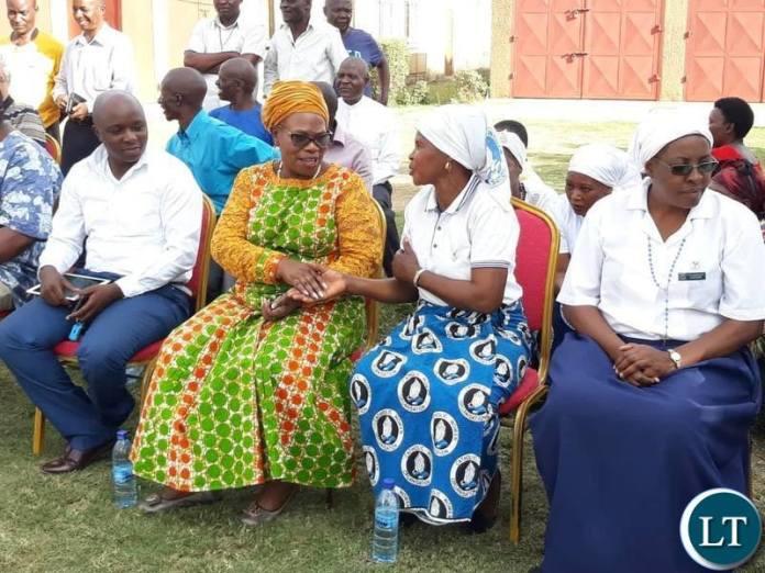 Munali area Member of Parliament Professor Nkandu Luo during the donation ceremony