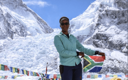 Image result for South African woman conquers Mount Everest in 27 days, on 4th try