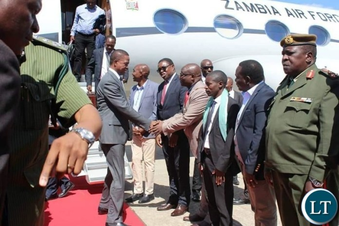 President Lungu on arrival in Ndola