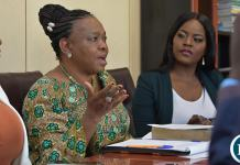 Ministry of National Guidance and Religious Affairs Godfridah Sumaili at a press briefing flanked by PR Girl Media partners Chishimba Nyambe and Monde Nyambe