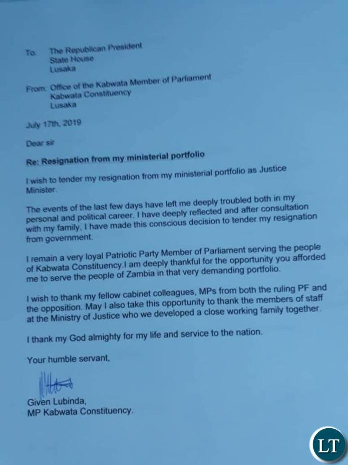 The fake resignation letter purportedly written and signed by Given Lubinda