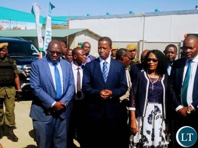 President Lungu  arrives at the Commisioning of the warehouse in the company of Health Minister Dr Chitalu Chilufya, PF Deputy SG Mumbi Phiri and Lusaka Province Minister Bowman Lusambo