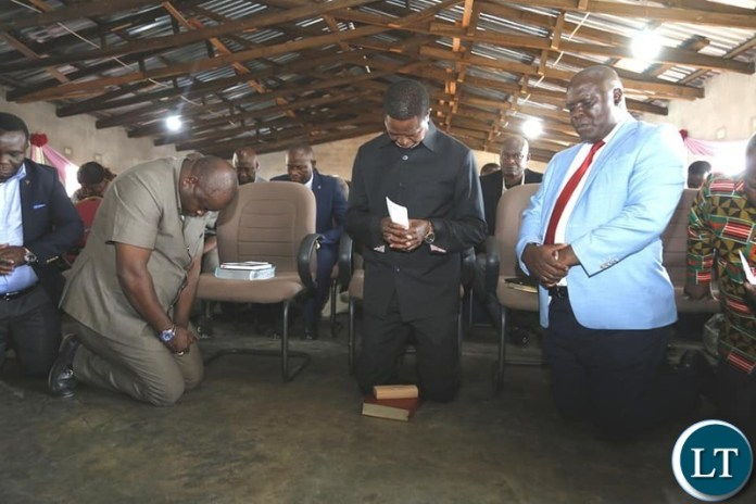 President Lungu with other Government officials at the Seventh Adventist Church
