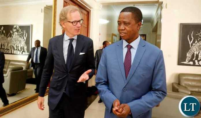 President Edgar Chagwa Lungu (right) speaks with Swedish Ambassador to Zambia Henrik Cederin at State House in Lusaka on Tuesday,July 16,2019. PICTURE BY SALIM HENRY/STATE HOUSE ©2019