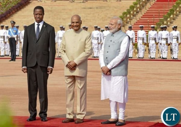 President Edgar Lungu with India's President Shri Ram Nath Kovind and India's Prime Minister Narendra Modi