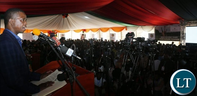 President Edgar Chagwa Lungu (right) addresses delegates at Solwezi City Hall during the North West Expo on Monday,August 19,2019 . PICTURE BY SALIM HENRY/STATE HOUSE ©2019