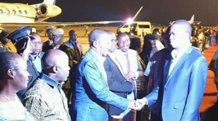 President Lungu being Welcomed at the Airport