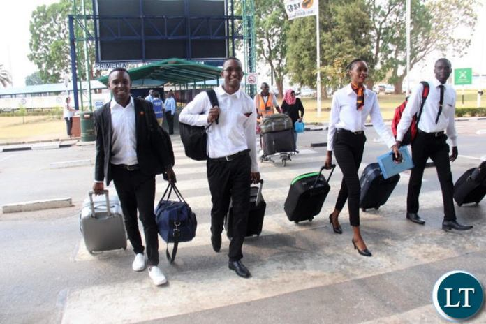 Part of A Zambia Airways 25-member cabin crew