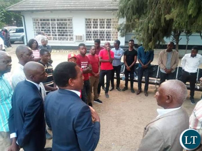 HH addresses Evelyn Hone students at the UPND secretariat recently