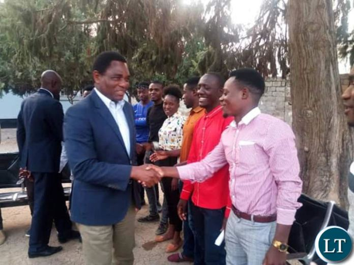 HH greets Evelyn Hone students at the UPND secretariat recently