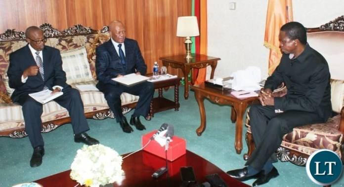 South African President Cyril Ramaposa's Special Envoy to Zambia Jeff Radebe meeting President Lungu