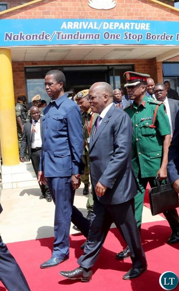 PRESIDENT Edgar Chagwa Lungu and His Tanzanian counterpart, President John Pombe Magufuli commissioning the Tunduma -Nakonde One Stop Border Post.