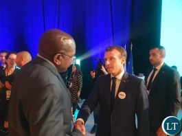 French President Emmanuel Macron took time to shake hands with Zambia's Health Minister, Hon. Dr. Chitalu Chilufya at the end of the Global Funds Replenishment Conference. President Macron thanked President Lungu and the people of Zambia for their generosity towards the Replenishment of the Global Funds.